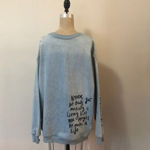 Zara Man Denim Distressed Sweatshirt